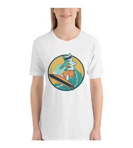 T-Shirt surfing dog, funny illustration surfing t-shirt