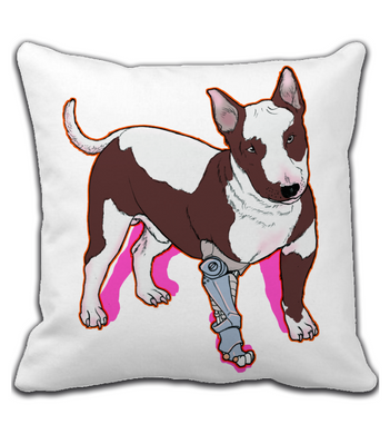 Throw Pillow Dog android cyberpunk future art
