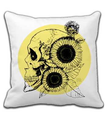 Throw Pillow Sunflowers and Skull