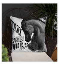 Throw Pillow Horse farm equestrian race rose drawing realistic pencil graphite arabian art animal