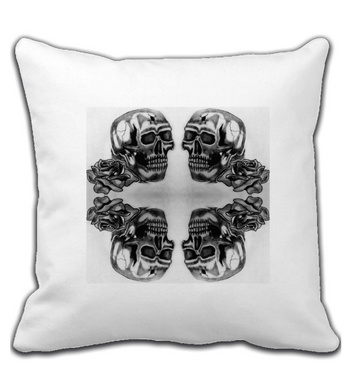 Throw Pillow Skull and Rose