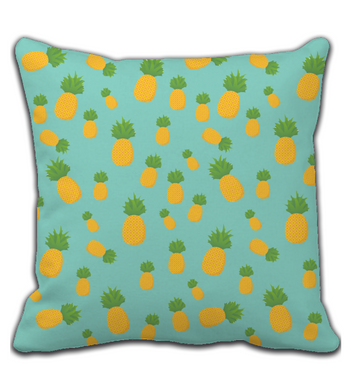 Throw Pillow Blue and Yellow Pineapple Pattern Print