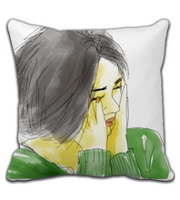 Throw Pillow Woman's Face Green