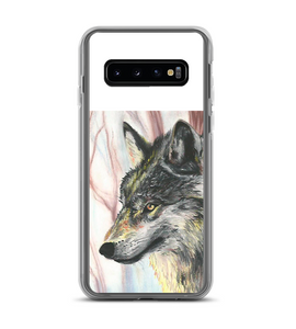 Wolf wild forest snow pastel traditional artwork animal nature mammal cold winter Phone Case