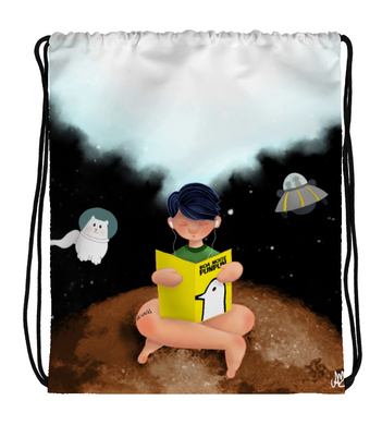 Drawstring Gym Bag Boy reading a book in space