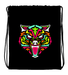 Drawstring Gym Bag Wolf with neon colors and abstract tribal forms
