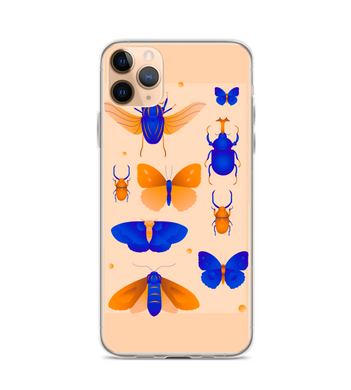 Insects blue orange butterfly beetle moth Phone Case