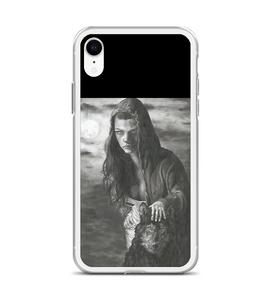 Woman wolf moon moonlight dark darkness animal atracttive black white pencil traditional Phone Case