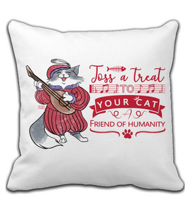 Throw Pillow bard cat singing - toss a treat to your cat witcher