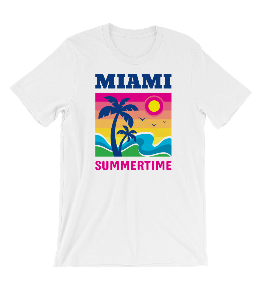 T-Shirt Miami Summertime - Summer Vacation - Sea Wave & Palms