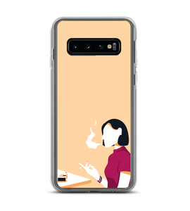 Smoking woman in a table of a cafe Phone Case