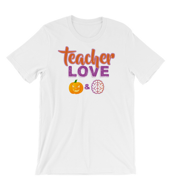 T-Shirt teacher love pumpkin and brain