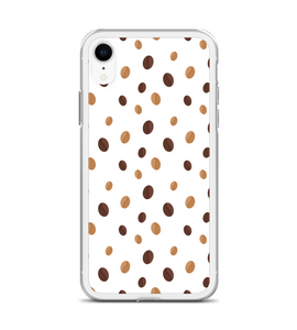 White Coffee Bean Pattern Print Phone Case