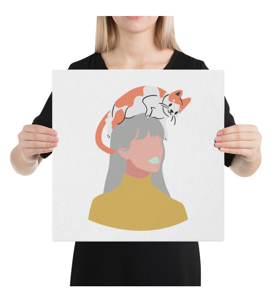 Canvas Cat on the head, woman in pastel colours. Cat lovers, girls decor, bag and tee.