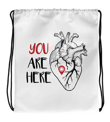 Drawstring Gym Bag YOU ARE HERE | HEART MAP