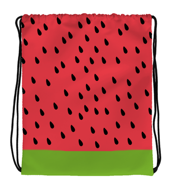 Drawstring Gym Bag Watermelon Print Green and Red
