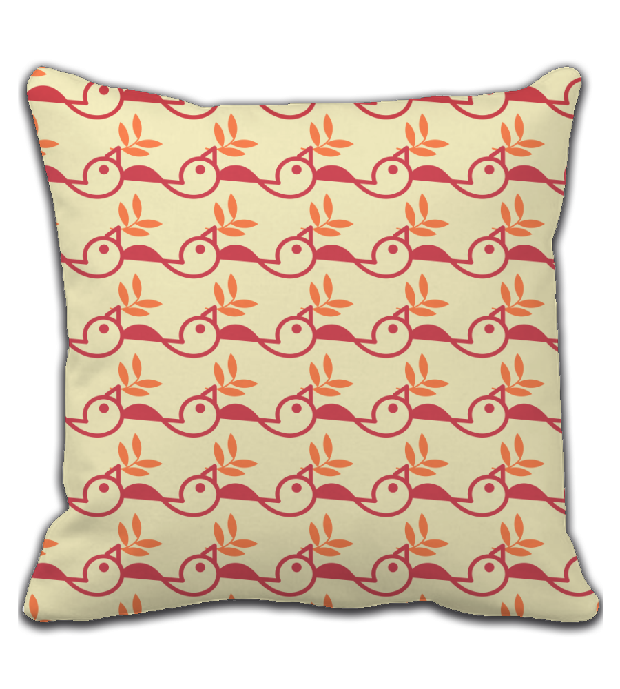 Throw Pillow Bird and leaf Pattern
