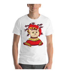 T-Shirt Cat Lady in red Medieval style costume