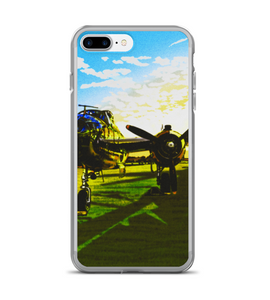 Aviation 2.0 airplane pilot grass sky sunset fly aviator aeronautics draw ilustration sun Phone Case