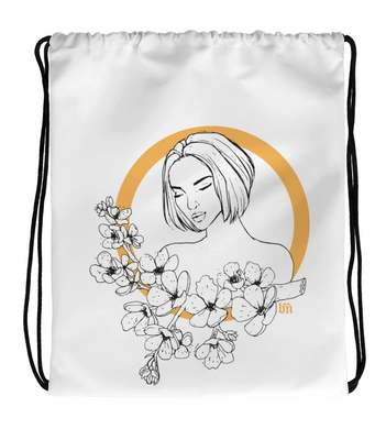 Drawstring Gym Bag Cherry Blossom Girl