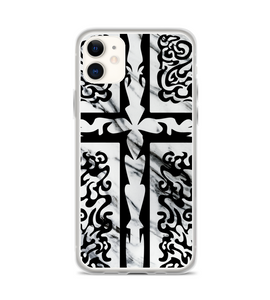 Cross marble tribal tribe Christ Jesus Church abstract black white salvation redemption Phone Case