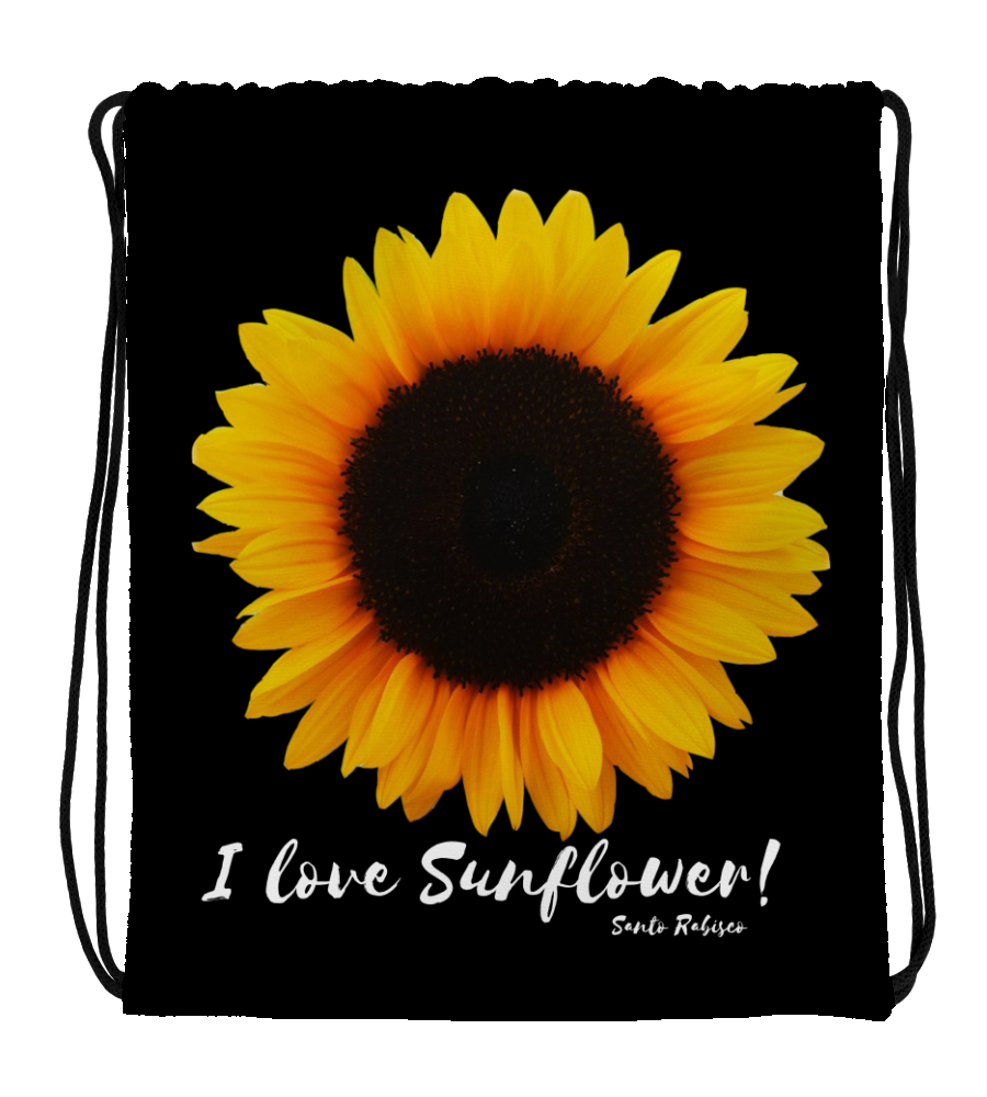 Drawstring Gym Bag I love Sunflower! Digital Art