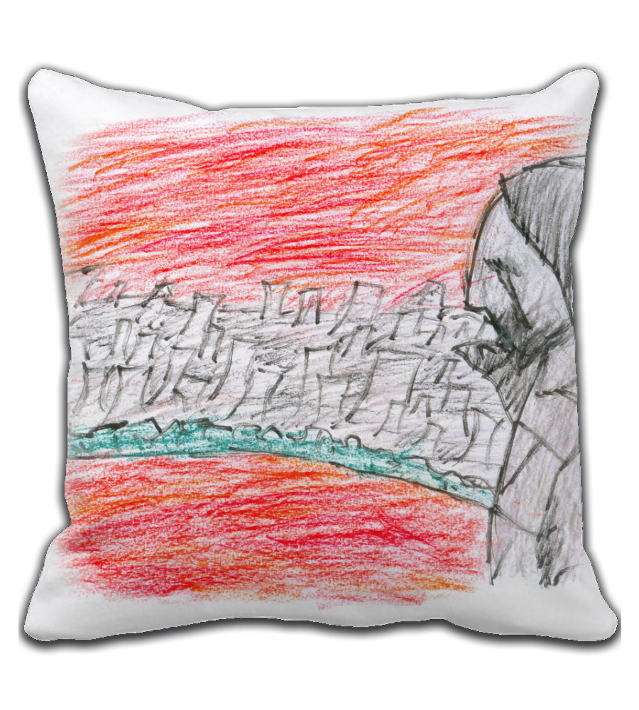 Throw Pillow graffiti rio violent violence canvas paiting crayon cover illustration drawing draw