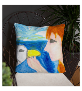 Throw Pillow greek mithology myth legend leda swan canvas illustration drawing draw color colored
