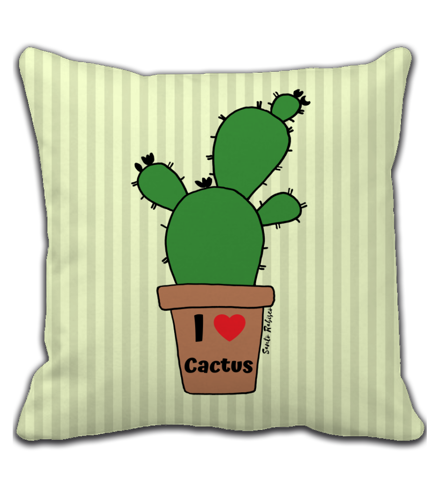 Throw Pillow I love Cactus - Art made by hand and digitally finalized.