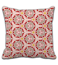 Throw Pillow Floral red, yellow, rose and green - Sweet, vintage, delicate, sophisticated pattern