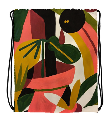 Drawstring Gym Bag Abstract Garden