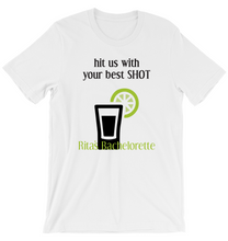 T-Shirt Custom Bachelorette Hit Me With Your Best Shot Customizable Personalized Favors Tequila