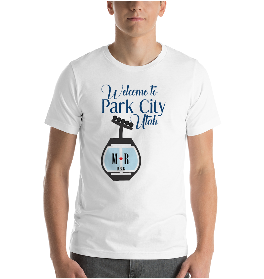 T-Shirt Custom Wedding Park City Utah Ski Lift Customizable Personalized Welcome  Favors Snow