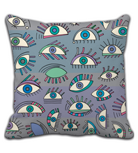 Throw Pillow Eyes hand drawn pattern. Sights abstract illustration.