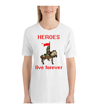 T-Shirt HEROES live forever - horse rider in green robe - pixel art - old games style