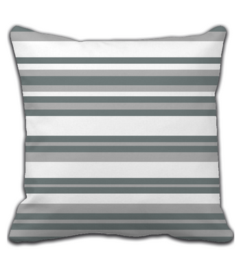 Throw Pillow Geometric Print White and Gray Stripes