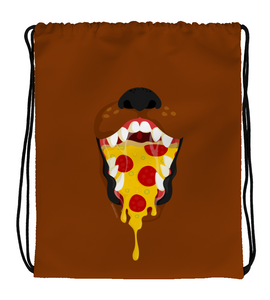 Drawstring Gym Bag Brown dog with a pizza inside mouth