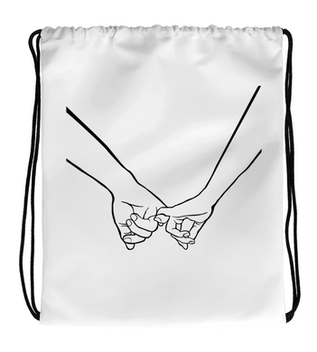 Drawstring Gym Bag Amity | A Nice Holding Hands Artwork