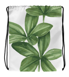 Drawstring Gym Bag Green Realistic Flower Leaves Watercolor