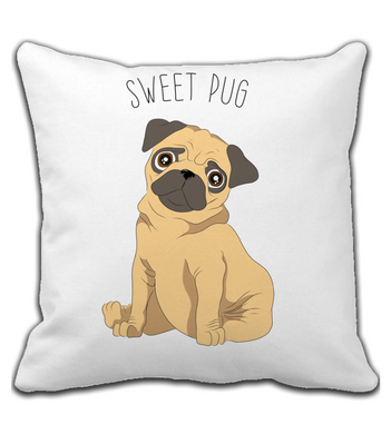 Throw Pillow With Dog Cartoon