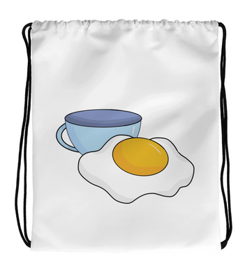 Drawstring Gym Bag Fried Egg and a Cup