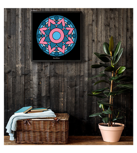 Framed Poster Mandala. Art made by hand and finished digitally.