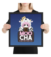 Framed Poster Cute cow drinking a mocha with spotted background Moocha is better than you