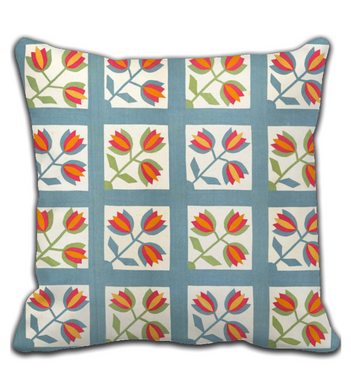 Throw Pillow Tiles and Flowers