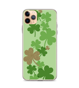 St Patricks Gold Green Clover Print Phone Case