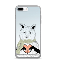 Cute cozy I love You Arctic FOX with stitch pink Heart and green Scarf on blue white for Phone Case