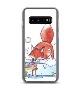 Cute Red Fox splashing lather in the bathroom - original watercolor ink art Phone Case
