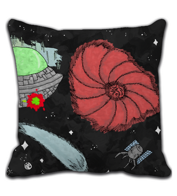 Throw Pillow cartoon comic battle ship space military cover illustration drawing galaxy color