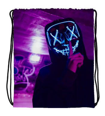 Drawstring Gym Bag Skull man with led mask (silence)