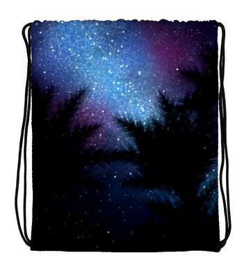 Drawstring Gym Bag Night under trees
